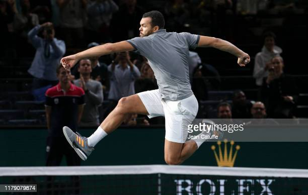 Jo-Wilfried Tsonga of France celebrates his second round victory against Matteo Berrettini of Italy on day 3 of the Rolex Paris Masters 2019, an ATP...