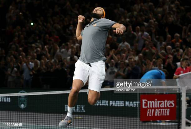 Jo-Wilfried Tsonga of France celebrates his victory against Jan-Lennard Struff of Germany in third round during day 4 of the Rolex Paris Masters...