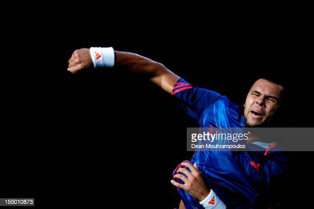 Jo-Wilfried Tsonga of France celebrates his victory against Julien Benneteau of France during day 2 of the BNP Paribas Masters at Palais Omnisports...