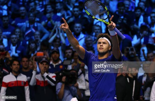 Jo-Wilfried Tsonga of France celebrates his victory against Steve Darcis of Belgium during day 1 of the Davis Cup World Group Final between France...