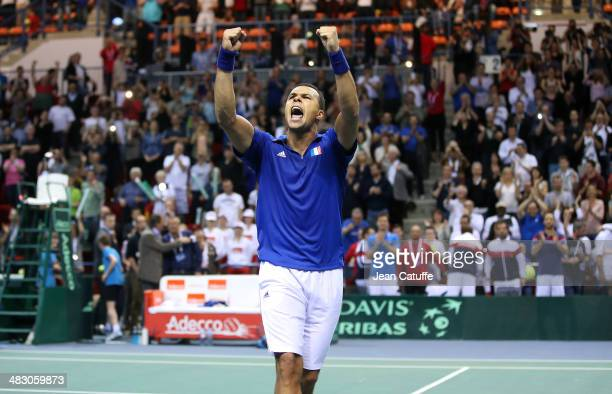 JoWilfried Tsonga of France celebrates his victory against Tobias Kamke of Germany during the second round Davis Cup match between France and Germany...