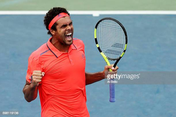 JoWilfried Tsonga of France celebrates his victory of James Duckworth of Australia during his second round Men's Singles match on Day Three of the...