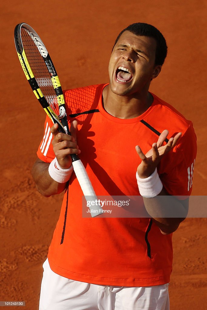 Jo-Wilfried Tsonga of France celebrates match point during the men's singles third round match between Jo-Wilfried Tsonga of France and Thiemo de Bakker of Netherlands at the French Open on day six of the French Open at Roland Garros on May 28, 2010 in Paris, France.