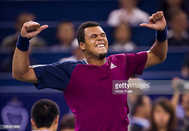 Jo-Wilfried Tsonga of France celebrates match point to Florian Mayer of Germany during day four of the 2010 Shanghai Rolex Masters at the Shanghai Qi...