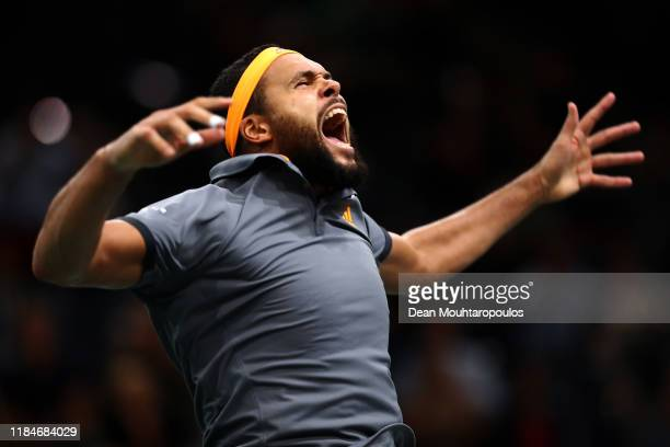 Jo-Wilfried Tsonga of France celebrates victory after his match against Jan-Lennard Struff of Germany on day 4 of the Rolex Paris Masters, part of...