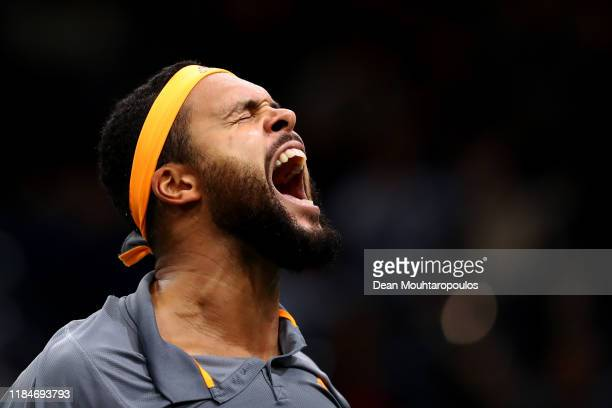 JoWilfried Tsonga of France celebrates victory after his match against JanLennard Struff of Germany on day 4 of the Rolex Paris Masters part of the...