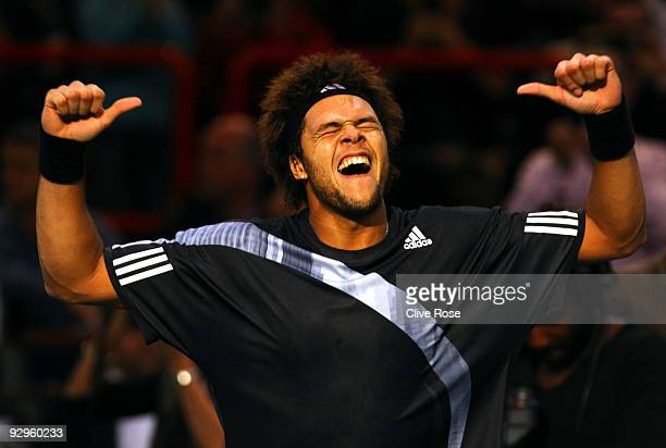 JoWilfried Tsonga of France celebrates victory after winning his match against Albert Montanes of Spain during the ATP Masters Series at the Palais...