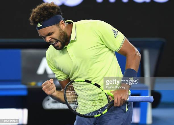 JoWilfried Tsonga of France celebrates winning a point in his first round match against Kevin King of the United States on day one of the 2018...
