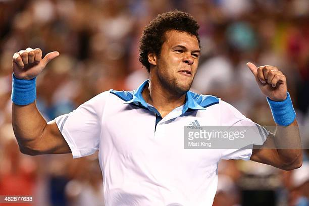 JoWilfried Tsonga of France celebrates winning his second round match against Thomaz Bellucci of Brazil during day four of the 2014 Australian Open...