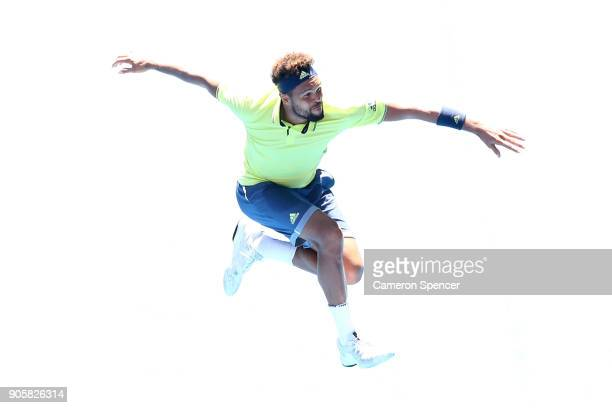 JoWilfried Tsonga of France celebrates winning his second round match against Denis Shapovalov of Canada on day three of the 2018 Australian Open at...