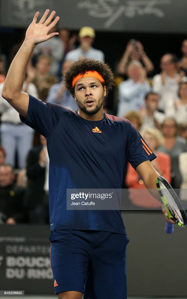 Jo-Wilfried Tsonga of France celebrates winning his semi-final against Nick Kyrgios of Australia at the Open 13, an ATP 250 tennis tournament at Palais des Sports on February 25, 2017 in Marseille, France.