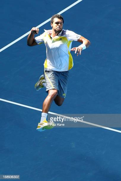 JoWilfried Tsonga of France celebrates winning his singles match against Kevin Anderson of South Africa during day seven of the Hopman Cup at Perth...