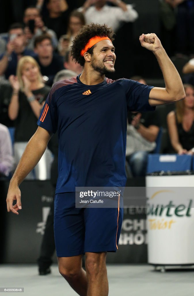 Jo-Wilfried Tsonga of France celebrates winning the final against Lucas Pouille of France at the Open 13, an ATP 250 tennis tournament at Palais des Sports on February 26, 2017 in Marseille, France.