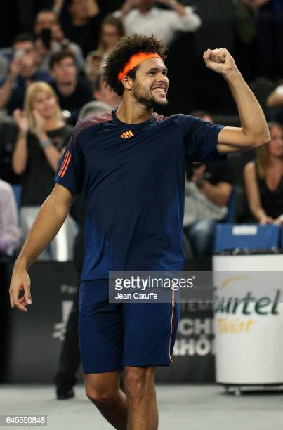 Jo-Wilfried Tsonga of France celebrates winning the final against Lucas Pouille of France at the Open 13, an ATP 250 tennis tournament at Palais des...