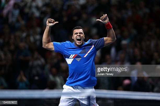 JoWilfried Tsonga of France celebrates winning the match during the men's singles match against Rafael Nadal of Spain during the Barclays ATP World...