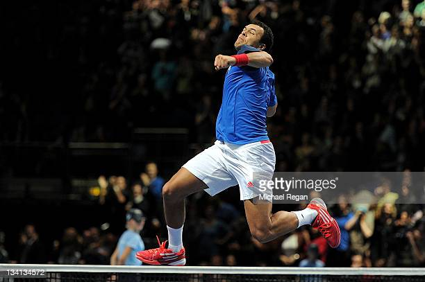 JoWilfried Tsonga of France celebrates winning the men's singles semifinal match against Tomas Berdych of Czech Republic during the Barclays ATP...