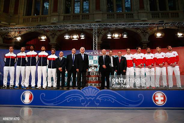 JoWilfried Tsonga of France Gael Monfils of France Richard Gasquet of France Julien Benneteau of France Captain Arnaud Clement of France with Roger...