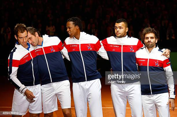JoWilfried Tsonga of France Gael Monfils of France Richard Gasquet of France Julien Benneteau of France and Captain Arnaud Clement of France line up...