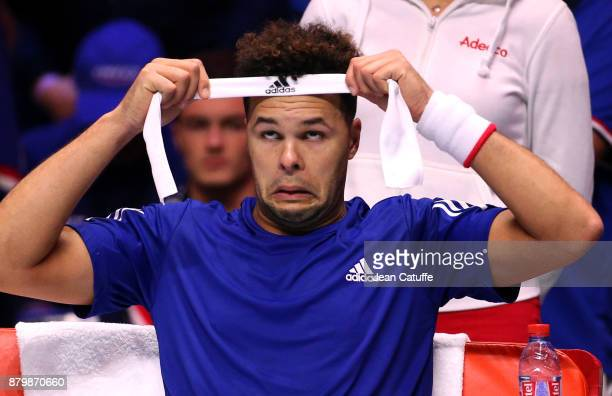 JoWilfried Tsonga of France in action against David Goffin of Belgium on day 3 of the Davis Cup World Group final between France and Belgium at Stade...