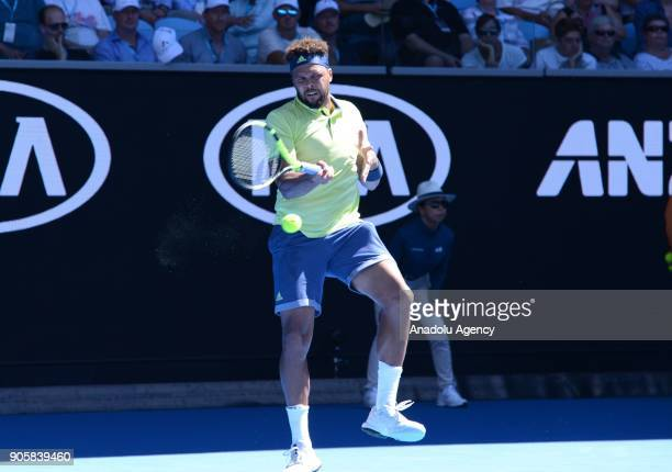 JoWilfried Tsonga of France in action against Denis Shapovalov of Canada on day three of the 2018 Australian Open at Melbourne Park on January 17...
