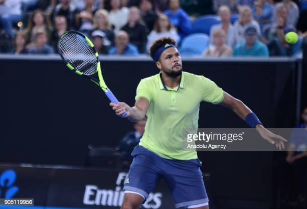 JoWilfried Tsonga of France in action against Kevin King of the United States on day one of the 2018 Australian Open at Melbourne Park on January 15...