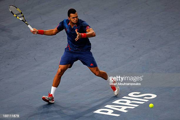 JoWilfried Tsonga of France in action against Nicolas Almagro of Spain during day 4 of the BNP Paribas Masters at Palais Omnisports de Bercy on...