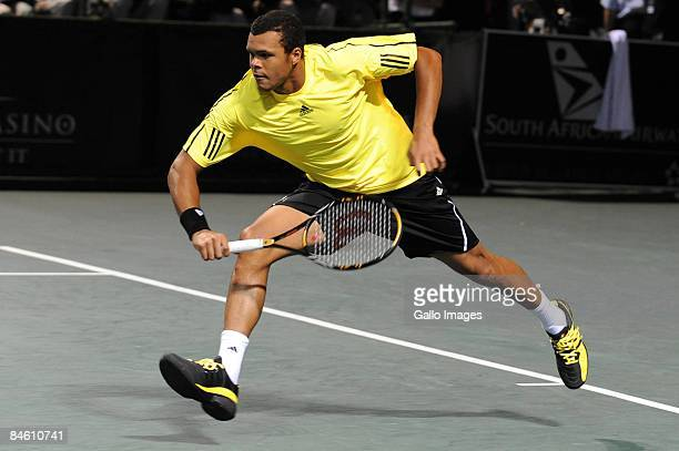 Jo-Wilfried Tsonga of France in action during his match against Thiago Alves of Brazil during day two of the South African Tennis Open from...