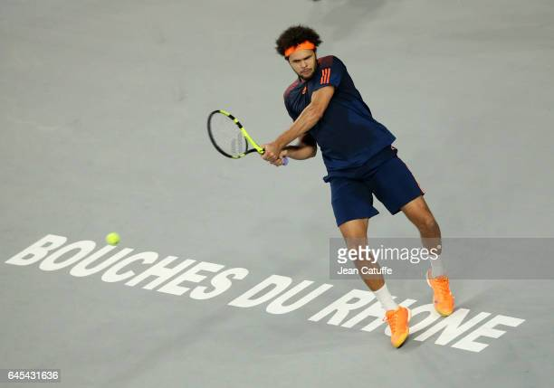 Jo-Wilfried Tsonga of France in action during his semi-final against Nick Kyrgios of Australia at the Open 13, an ATP 250 tennis tournament at Palais...