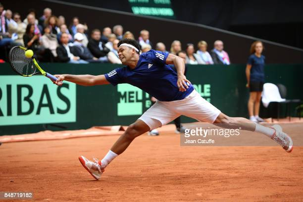 Jo-Wilfried Tsonga of France in action on day three of the Davis Cup World Group tie between France and Serbia at Stade Pierre Mauroy on September...