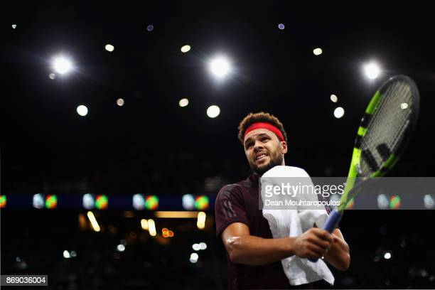 JoWilfried Tsonga of France looks dejected between games as he plays his match against Julien Benneteau of France during Day 3 of the Rolex Paris...