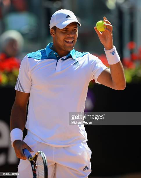 Jo-Wilfried Tsonga of France looks on in his match against Kevin Anderson of South Africa during day 4 of the Internazionali BNL d'Italia 2014 on May...
