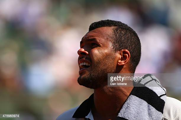 JoWilfried Tsonga of France looks on in his Men's Semi Final match against Stanislas Wawrinka of Switzerland on day thirteen of the 2015 French Open...