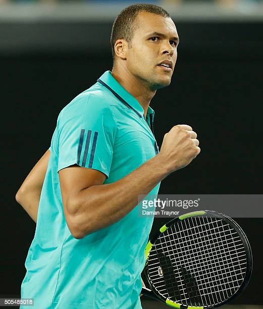 JoWilfried Tsonga of France looks to his box in his first round match against Marcos Baghdatis of Cyprus during day one of the 2016 Australian Open...
