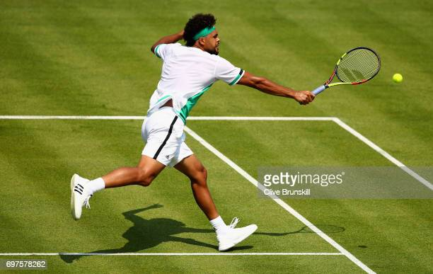 JoWilfried Tsonga of France plays a backhand during the mens singles first round match against Adrian Mannarino of France during day one of the 2017...