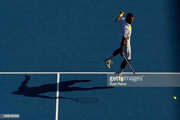 JoWilfried Tsonga of France plays a backhand in his fourth round match against Richard Gasquet of France during day eight of the 2013 Australian Open...