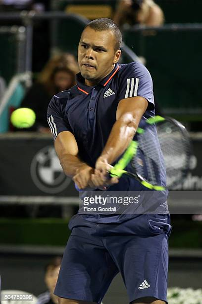 JoWilfried Tsonga of France plays a backhand shot to Philipp Kohlschreiber of Germany on day 3 of the ASB Classic on January 13 2016 in Auckland New...