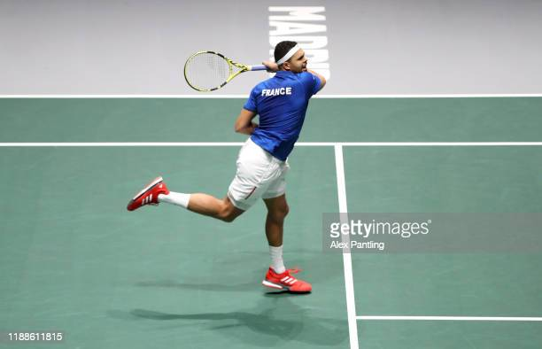 JoWilfried Tsonga of France plays a forehand during Day 2 of the 2019 Davis Cup at La Caja Magica on November 19 2019 in Madrid Spain