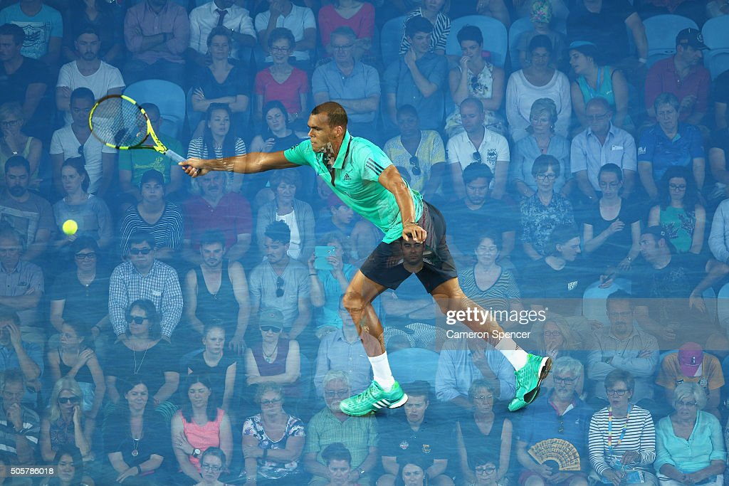 Jo-Wilfried Tsonga of France plays a forehand during his second round match against Omar Jaskia of Australia during day three of the 2016 Australian Open at Melbourne Park on January 20, 2016 in Melbourne, Australia.