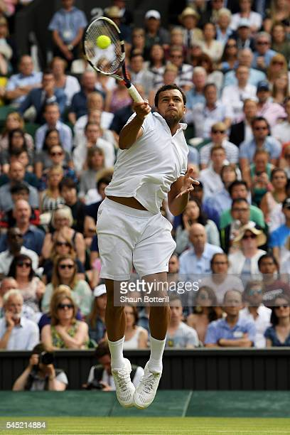 JoWilfried Tsonga of France plays a forehand during the Men's Singles Quarter Finals match against Andy Murray of Great Britain on day nine of the...