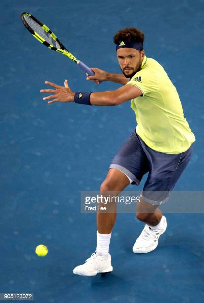JoWilfried Tsonga of France plays a forehand in his first round match against Kevin King of the United States on day one of the 2018 Australian Open...