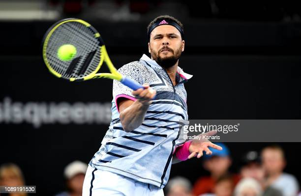 JoWilfried Tsonga of France plays a forehand in his match against Taro Daniel of Japan during day five of the 2019 Brisbane International at Pat...