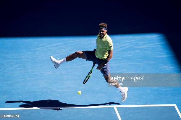 JoWilfried Tsonga of France plays a forehand in his second round match against Denis Shapovalov of Canada on day three of the 2018 Australian Open at...