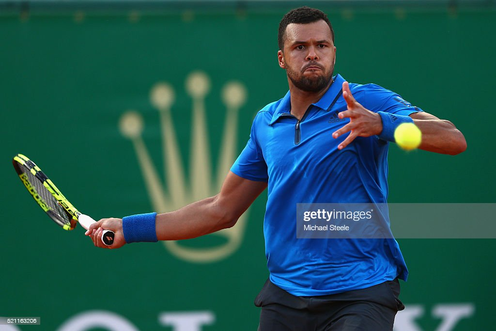 Jo-Wilfried Tsonga of France plays a forehand return during his match against Lucas Pouille of France during day five of the Monte Carlo Rolex Masters at Monte-Carlo Sporting Club on April 14, 2016 in Monte-Carlo, Monaco.
