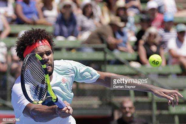 Jo-Wilfried Tsonga of France plays a forehand shot in his match against Borna Coric of Croatia during day three of the 2017 Priceline Pharmacy...