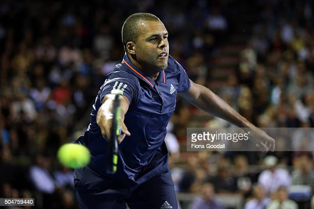 JoWilfried Tsonga of France plays a forehand shot to Philipp Kohlschreiber of Germany on day 3 of the ASB Classic on January 13 2016 in Auckland New...