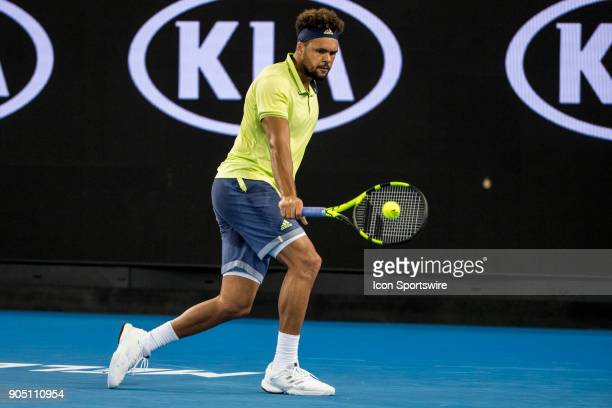 JoWilfried Tsonga of France plays a shot during the 2018 Australian Open on January 15 at Melbourne Park Tennis Centre in Melbourne Australia