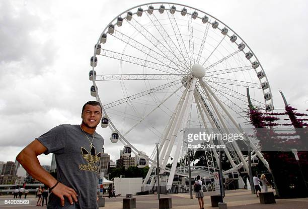 JoWilfried Tsonga of France poses at the Brisbane Wheel during day five of the Brisbane International 2009 at the Southbank Parklands on January 8...