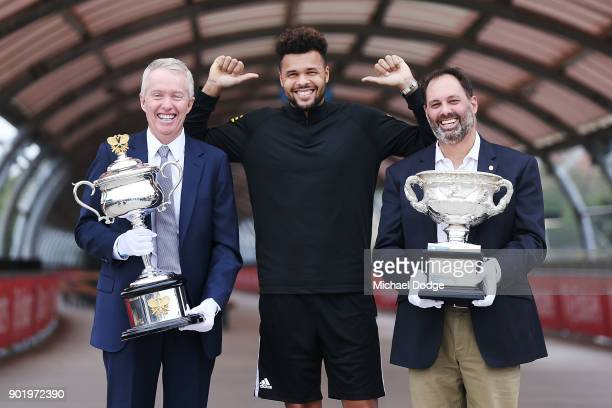 JoWilfried Tsonga of France poses with Acting Sports Minister Philip Dalidakis and Australian Open Tournament Director Craig Tiley ahead of the 2018...