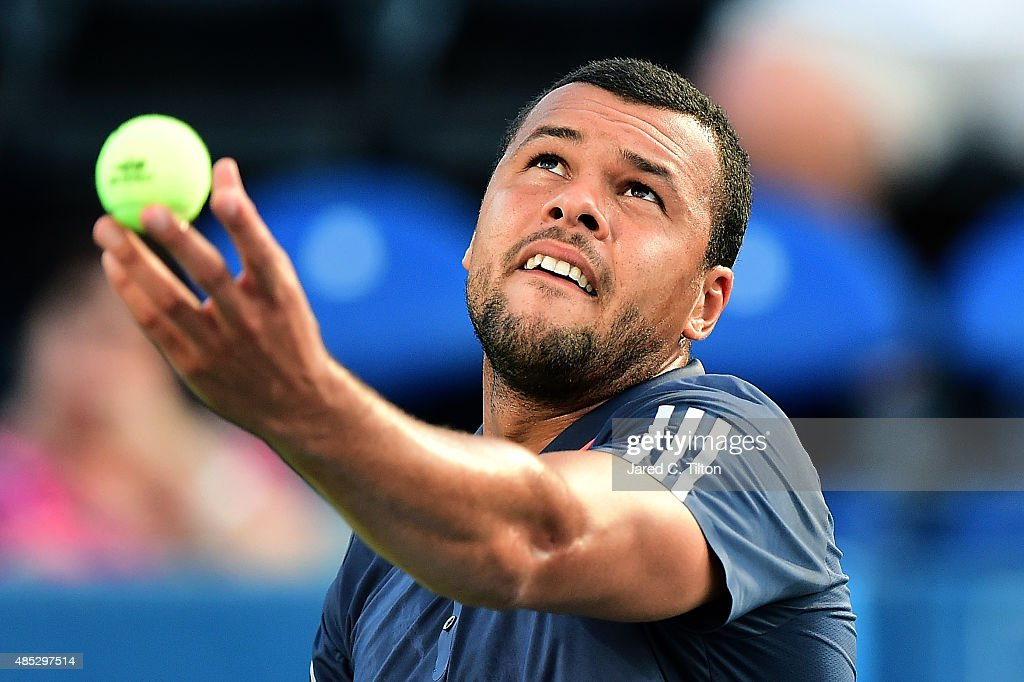 Jo-Wilfried Tsonga of France prepares to serve to Steve Johnson during the third day of the Winston-Salem Open at Wake Forest University on August 26, 2015 in Winston-Salem, North Carolina.