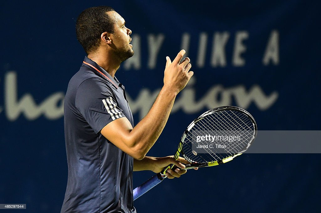 Jo-Wilfried Tsonga of France reacts after a point against Steve Johnson during the third day of the Winston-Salem Open at Wake Forest University on August 26, 2015 in Winston-Salem, North Carolina.
